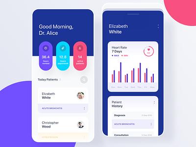 Medical app for Doctors medical care medical app uiux mobile ui minimal doctor app mobile history heart rate health doctors medicine medical