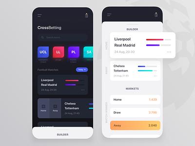 Sport Match Builder Betting Mobile App chart ux ui mobile minimal light dark soccer football sport betting bet gambling igaming betting sport