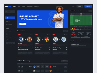 Sport Betting web product design mobile chelsea live soccer football sport betting bet gambling betting sportsbook