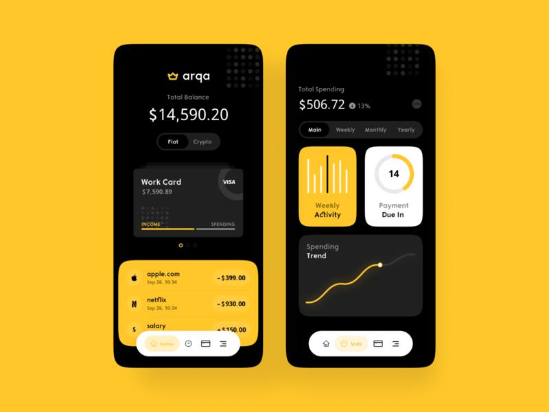 Financial Mobile App mobile app ux ui mobile bank app bank card banking card credit credit card stats transactions wallet payment fintech bank financial
