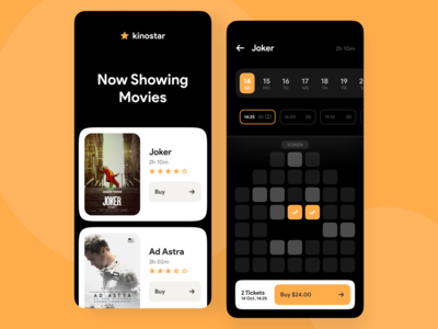 CInema Tickets App theater film minimal cards calendar tickets mobile cinema