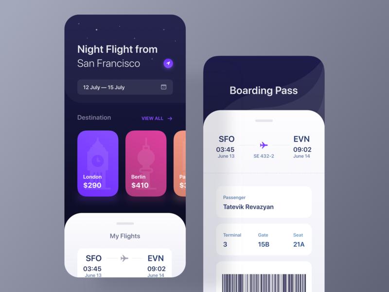 Flight Booking App booking pass planet boardingpass night boarding ticket avia ux ui minimal mobile