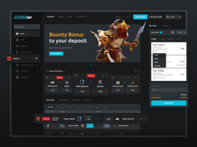 E-Sports Betting Website gambling uiux ui igaming gaming betting web product