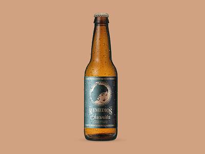Remedios Juanita™ Craft Beer illustrator illustration hemp craftbeer craft beer label beer branding design branding art