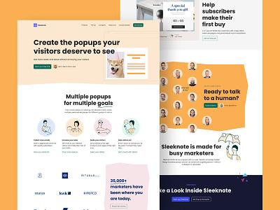 Sleeknote pastel bold friendly website illustration