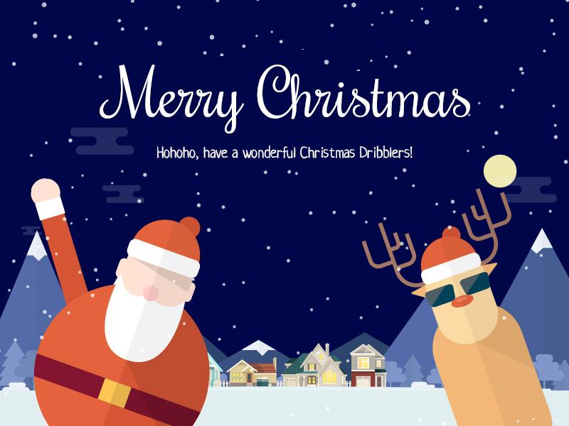 Merry Christmas Dribbblers! flat deer thank you illustration snow santa christmas invite