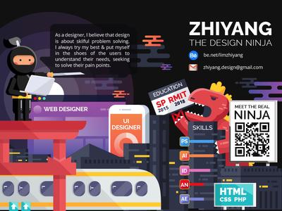 The Design Ninja landscape monster ninja resume flat vector illustration