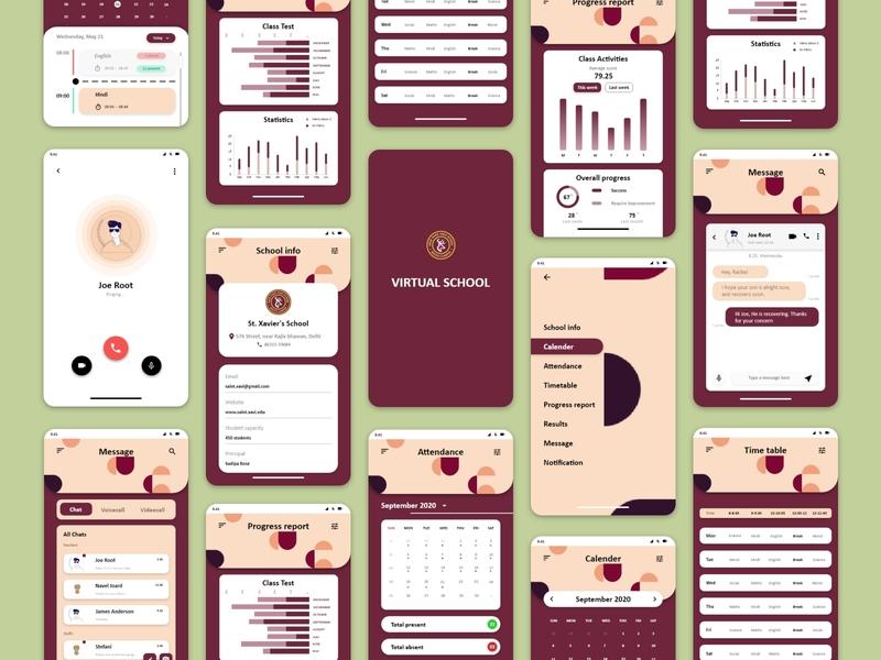 Virtual School Mobile Application User interface application mobile app design mobile design ux ui branding adobexd dribble design adobe