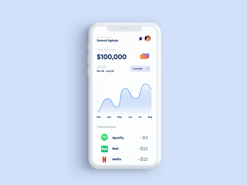 User's spending habit app ux design minimal ui