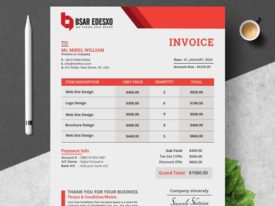 Invoice Template designs, themes, templates and downloadable
