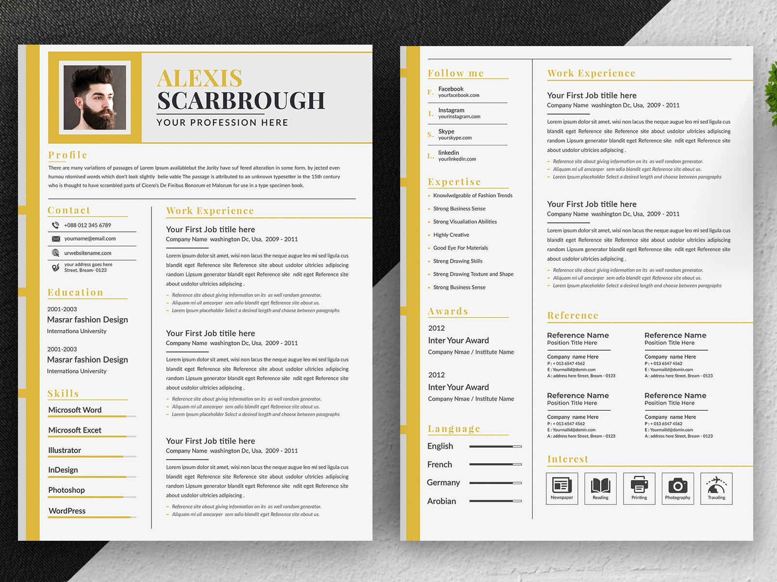 Resume Template By Amir Hossain On Dribbble