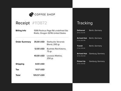 Email Receipt — daily UI 017 flat web ux daily ui daily 100 challenge summary tracking mail receipt receipt mail concept dailyui design daily