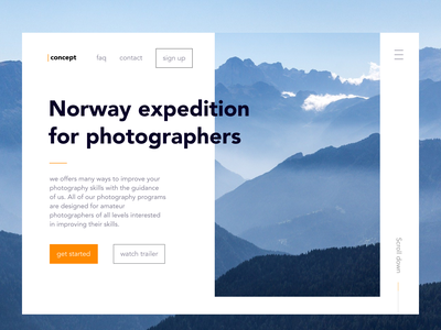 LANDING PAGE — daily UI 003 web design web concept landing page concept ux uxui ux-ui landing dailyui 003 003 mountain design ui design nordic picture north daily dailyui ui norway
