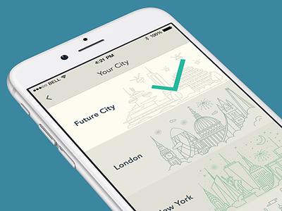 Your City yplan app city selector ios iphone6 interface design