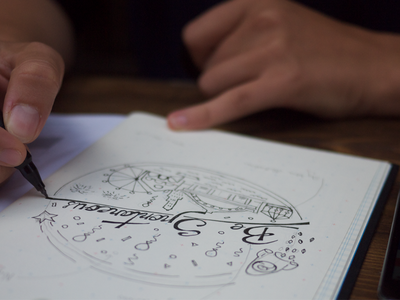 Be Spontaneous illustration drawing yplan app t-shirt design