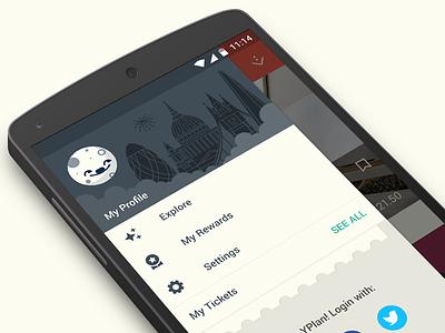 YPlan Lollipop yplan lollipop android design app illustration drawer icons