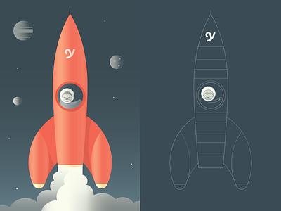 Rocketship rocketship illustration yplan app design sloth space startup