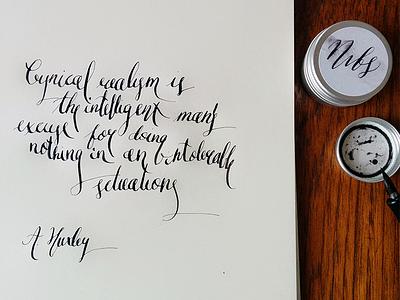 Intelligent Man modern calligraphy ink japanese nibs danish table