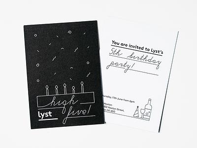 High Five Lyst! tote stamp card invite design graphic logo birthday lyst