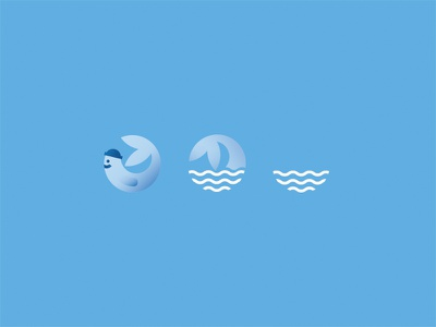 Logo With a Story (II) waves water gradient design web illustration logo fish