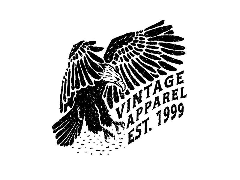 Eagle tshirt apparel grunge black and white lettering eagle illustration
