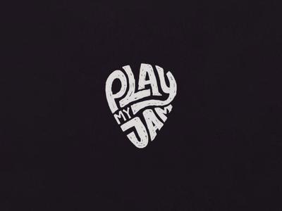 Play my Jam illustration jamming plectrum guitar hand lettering lettering