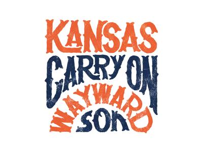 Kansas tshirt merch typography hand lettering lettering band kansas illustration