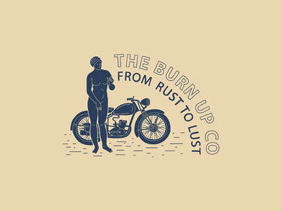 Rust to Lust cafe racer tshirt merch typography hand lettering lettering naked illustration