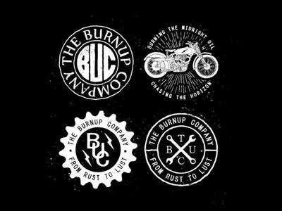 Burnup Co. branding logo badge lettering custom build garage cafe racer illustration