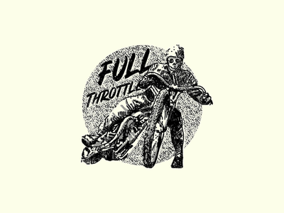 Full throttle tshirt halftone skull hand lettering lettering cafe racer illustration
