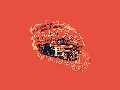 One Mans Junk badge truck hand lettering lettering vintage illustration