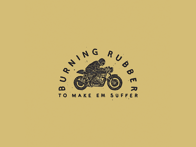 Burning Rubber hand lettering lettering cafe racer illustration