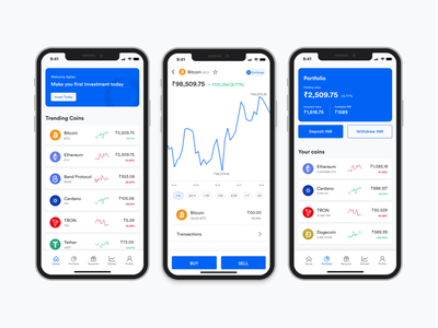 Crypto Trading Application chart fintech finance app ios mobile crypto wallet exchange crypto trading app ui bitcoin cryptocurrency crypto mobile ui ux