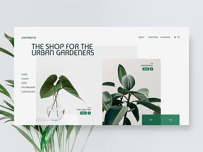plant shop hero section concept ui design web design clean ui plants plant userinterface uidesign website design website webdesign overlapping minimal ui landingpage design