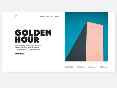 photography workshop hero concept typography cleanui clean uidesigner minimalistic minimal landingpage hero section concept uidesign ui design ui