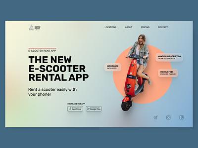 scooter rental hero concept concept design webdesign gradient glassmorphism hero section ui design web design uidesign ui landingpage