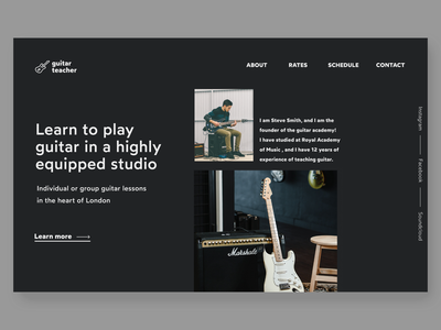 guitar teacher hero concept blackandwhite typo typography darkui guitar black webdesign concept clean ui hero section landingpage minimal web design ui design uidesign ui
