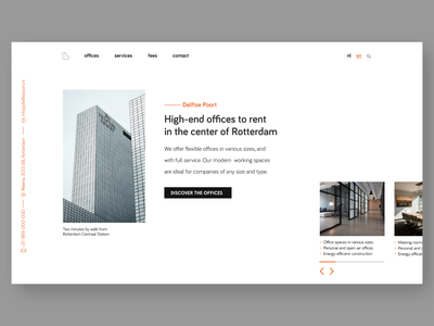 Office renting hero section renting building rotterdam office webdesign concept clean ui hero section minimal landingpage web design ui design uidesign ui