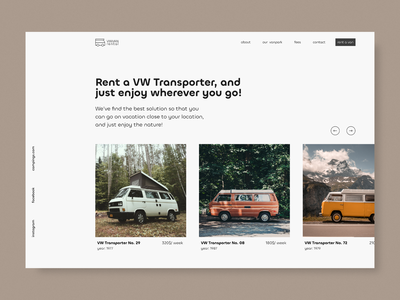 VW Transporter rental ui concept minimal ui clean design rental vw transporter vw van vw bus rent vw webdesign concept clean ui hero section landingpage minimal web design ui design uidesign ui