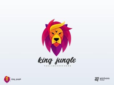 King Jungle king jungle lion creative memorable gradient colorful awesome animal logo modern illustration vector design