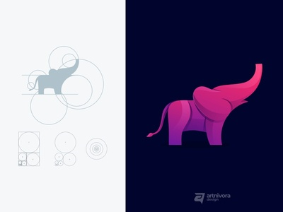 Elephant simple goldenratio fibonacci grid elephant icon colorful gradient awesome vector design illustration modern animal logo