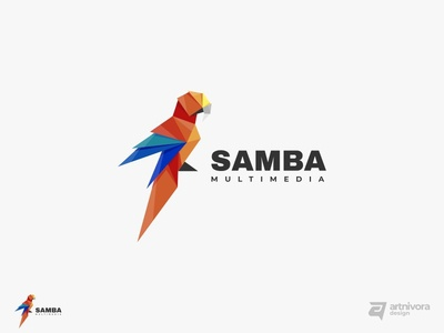 Project for SAMBA MULTIMEDIA bird creative simple gradient illustration vector colorful animal logo design