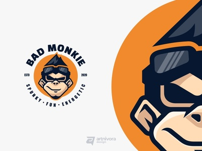 Mascot logo design project for BAD MONKIE simple modern simlemascot animals monkie logomaker graphicdesign logodesign mascot animal vector illustration logo design