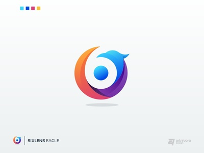 Project logo design for SIXLENS EAGLE modern creative simple awesome illustration gradient colorful vector logo design