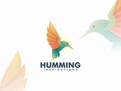 Humming Bird creative inspiration bird animal technology branding gradient colorful illustration vector logo modern design