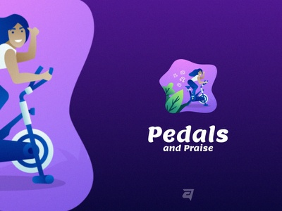 Pedals and Praise people creatice technology branding gradient colorful illustration vector logo modern design