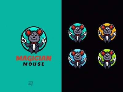 Magician Mouse mouse cute animal technology character cartoon creative illustration vector logo modern design