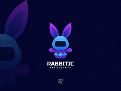 Rabbit graphic futuristic creative robotic technology animal branding gradient colorful illustration vector logo modern design