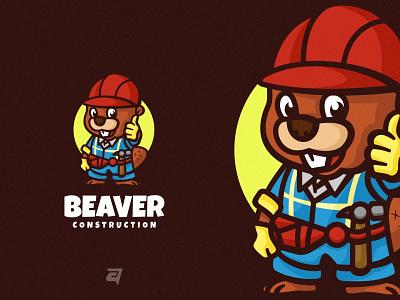 Beaver happy cute character beaver cartoon ceative branding illustration vector logo modern design