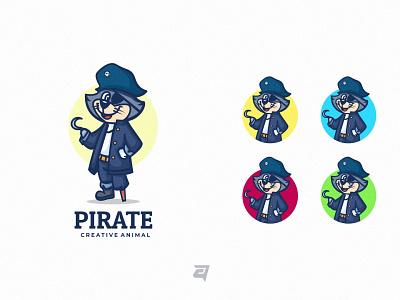 Pirate art graphic creative animal character cartoon branding illustration vector logo modern design